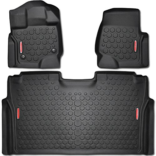 2015 - 2018 Ford F-150 Floor Mats (FRONT & REAR LINERS - 100% WEATHER RESISTANT) Fits Crew Cab F150 Trucks in 2015,2016, 2017, & 2018 Models - Guaranteed Perfect Fit - Custom Tech Fitting Technology by Elements Defender
