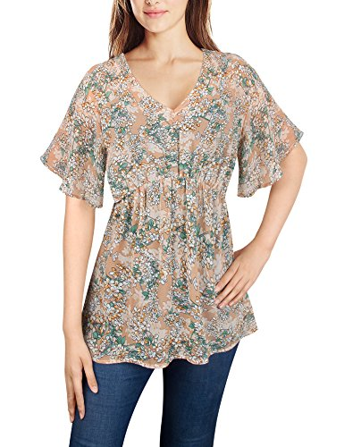 Dimildm Plus Size Chiffon Tops, Women's Summer Floral Bohemian Short Sleeve Semi Sheer Loose Tunic Blouse (Light Coffee,XL)