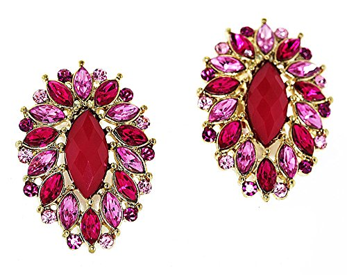 Marquis-Shaped Simulated Rhinestone Clip-On Earrings - Pink/Fuchsia (Marquis Shaped Earrings)