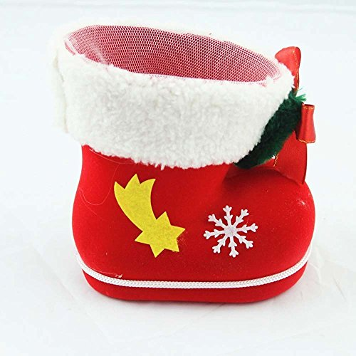 Tanxih Xmas Candy Boots Christmas Stockings Decorations Xmas Gift Candy Shoes Gifts Basket Snacks Pen Container Package Bags for Christmas Party or Kids Room (Boot Christmas Stocking)