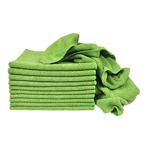 Eurow Utility Terry Weave 16 x 16in 240 GSM Microfiber Cleaning Towels Green 12-Pack