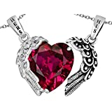 Star K Sterling Silver His and Hers winged Love Couple 2pcs pendant set with Heart Shape 11mm Simulated Stone