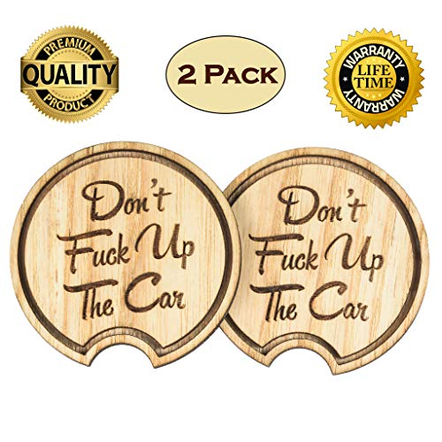 Navady Wood Funny Car Coaster (2.87 Inches Diameter), Fathers Day Gifts, Large Car Cup Holder Coasters, Keep Your Car Cup Holder Clean and Dry, Funny Car Accessories (Funny Quote)