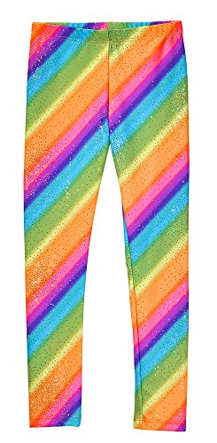 City Threads Girls Leggings Metallic Mermaid Print Shiny Colorful Fun Ankle Length for Style Fashion Parties Pop of Color, Rainbow Sparkle, 5 -