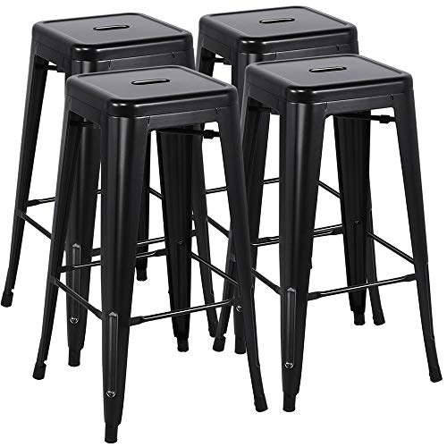 Yaheetech 30 inches Metal Bar Stools Set of 4 High Backless Barstool Stackable Bar/Counter Height Stools Chairs,Black (Stackable Bar Stool)
