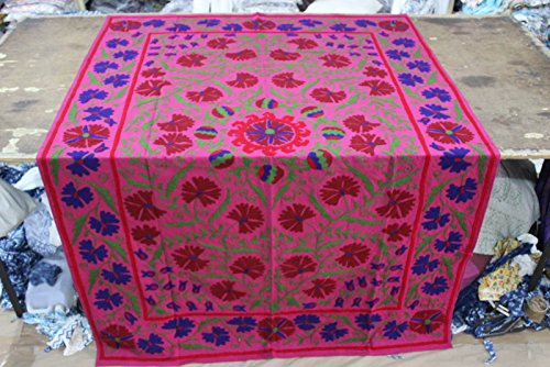 (Handicraftofpinkcity Twin Size BED Sheet Red and Green Color Cotton Royal Look Suzani Embroidered Tapestry Wall Decor Wall Hanging Table Cover Ssth011)
