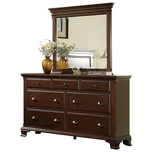Picket House Furnishings Brinley Dresser with Mirror in Cherry (Triple Dresser House)