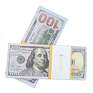 COPY MONEY Total $20000 Dollar $100X200 Pcs FAKE MONEY US Currency Props Advertising & Novelty Real Looking New Style Copy Double-Sided Printing - for Movie, TV, Videos