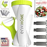 enviHome The Original 2017 Edition Spiral Slicer Vegetable Spiralizer - Super Zoodle Maker - 4 Blade Veggie Cutter - 4 Pasta Styles in One - Zucchini Noodle Spaghetti Maker and Recipe eBook Package