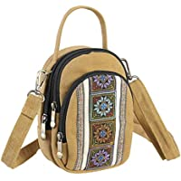 Women's 3 Layers Small Crossbody Purse,Durable Canvas Cellphone Crossbody Bag Pouch Smartphone Wallet for Girls
