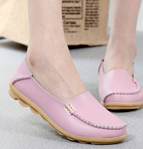 Scarpe Piatto Casuale On da Heheja Donna Slip Mocassini Barca Scarpe Pink EAxI0q