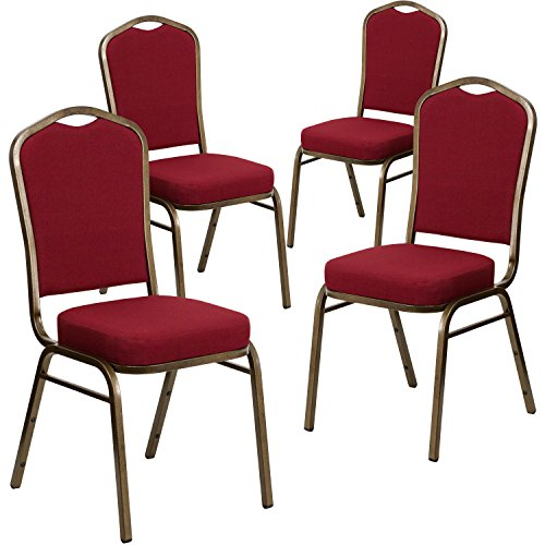 (Flash Furniture 4 Pk. HERCULES Series Crown Back Stacking Banquet Chair in Burgundy Fabric - Gold Vein)