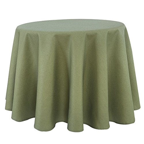 Linen Basketweave Tight Tablecloth Sage 60 Inch Round Easy Care Polyester Miter Corners