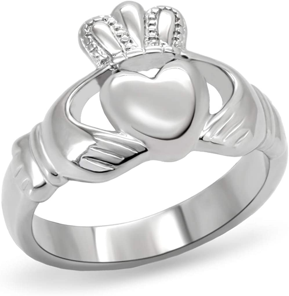 Eternal Sparkles Women's Claddagh Ring Polished Stainless Steel