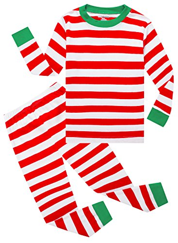 Family Feeling Striped Little Boys Girls Christmas 2 Piece Pajamas Set 100% Cotton Pjs Red Size 6 (Christmas Boy Pajamas)