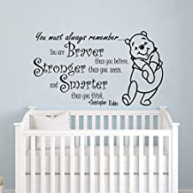 Quote Wall Decal Vinyl Sticker Decals Quotes Winnie the Pooh Quote - Braver Stronger Smarter - Nursery Decor Kids Baby Room Bedroom ZX199