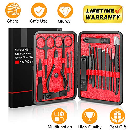 Updated 2019 Version Manicure Set-Hunwoo Nail Clippers Set 18 in 1 Grooming Kit Stainless Steel Professional Pedicure Set,Nail Scissors,Nail File,Ear Pick,Tweezers,Nose Hair Scissors,Eyebrow Razor ()