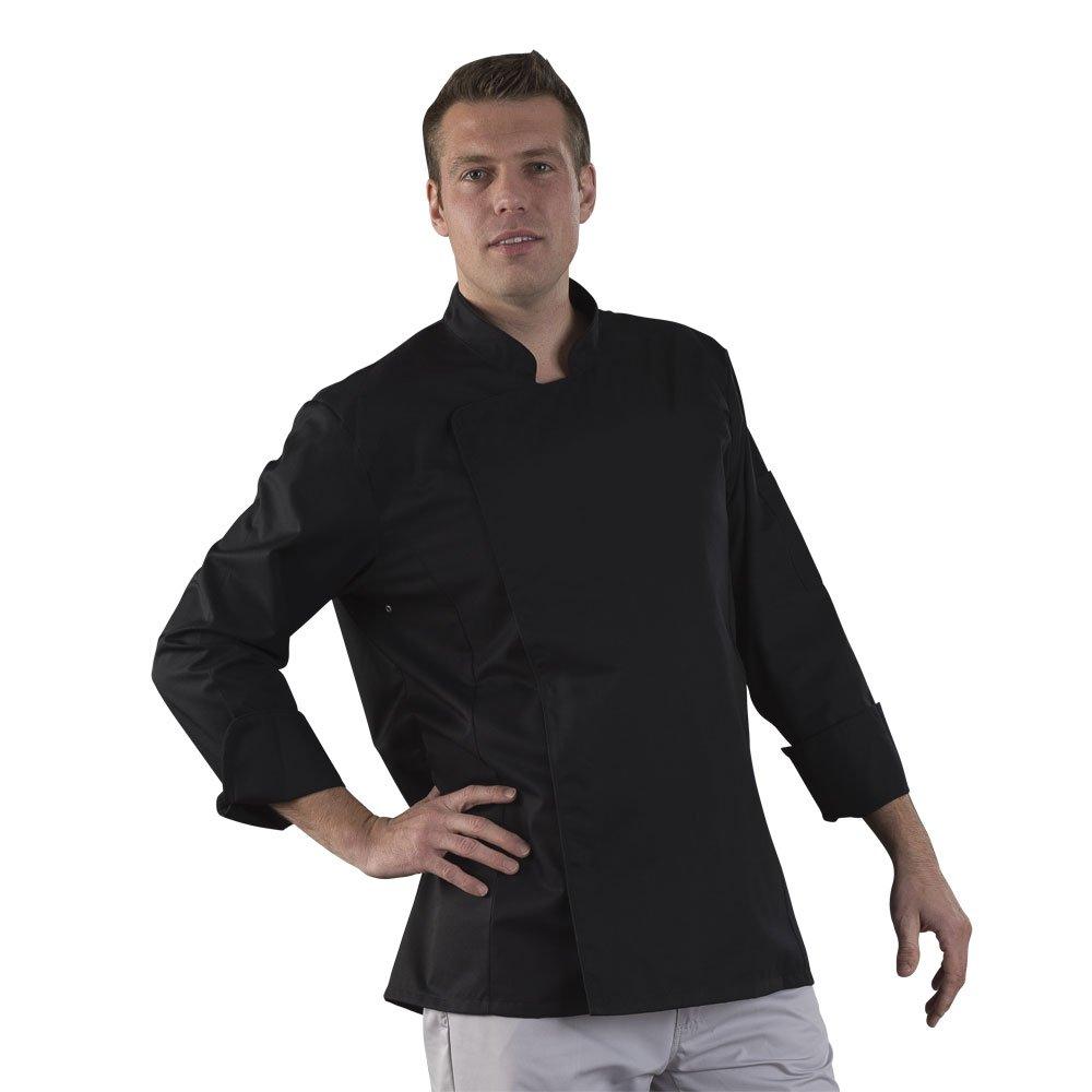 Label Blouse Veste de Cuisine Manches Longues Sergé 210 gramme Couleurs Noir Pressions inoxydables Lavage Machine 90 degrés ou Industriel