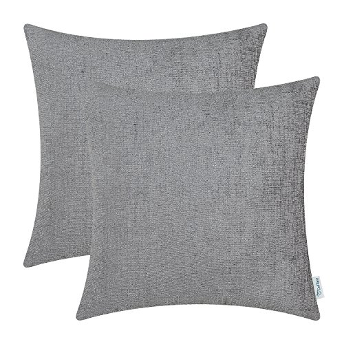 Gray Toss Pillow - CaliTime Pack of 2 Cozy Throw Pillow Covers Cases for Couch Sofa Home Decoration Solid Dyed Soft Chenille 20 X 20 Inches Medium Grey