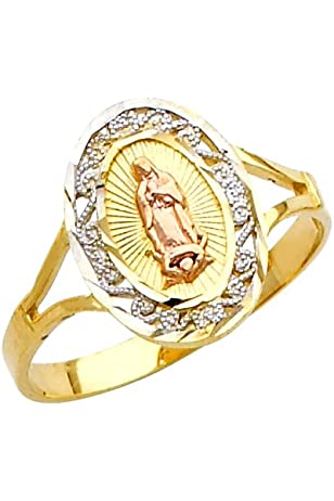 Filigree-Style 10k Tri-Color Gold Four Leaf Clover Hearts Our Lady of Guadalupe Ring