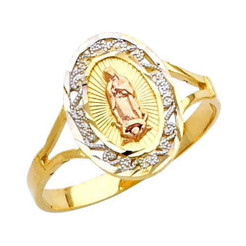 Fine 10k Tri-Color Gold Our Lady of Guadalupe Ring (Size 6.25)