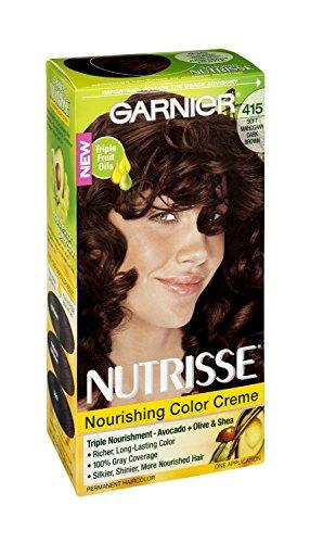 Garnier Nutrisse 415 souple acajou foncé Couleur Crème Nourrissante Couleur de cheveux permanente, 1 CT (pack de 3)