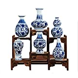 Blue and White Porcelain Vase Handmade and Hand Painted 6 PCS (Blue and white)