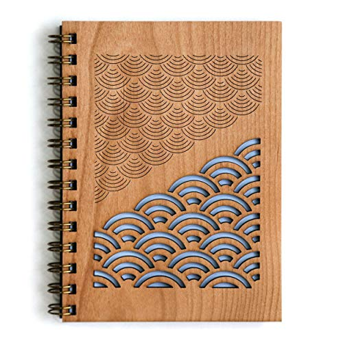 Scallop Reflections Laser Cut Wood Journal (Notebook/Birthday Gift / 5th Anniversary/Gratitude Journal/Handmade)