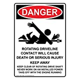 ComplianceSigns Vertical Vinyl OSHA DANGER Rotating Driveline Labels, 5 x 3.50 in. with English Text and Symbols, White, pack of 4