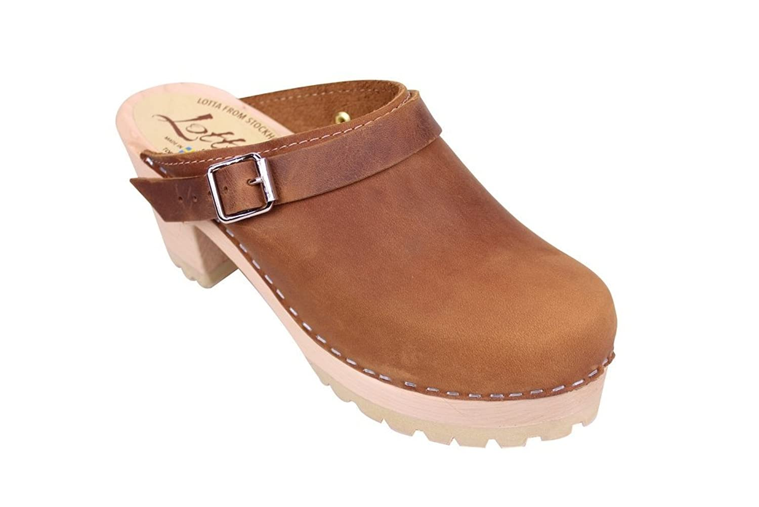 Lotta From Stockholm High Heel Tractor Sole Clog in Brown Oiled Nubuck