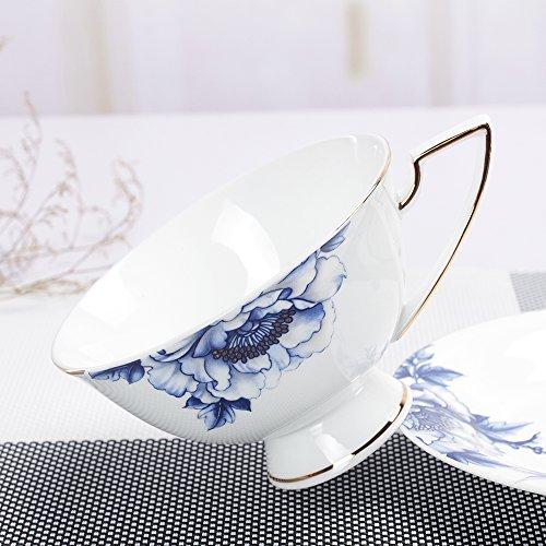 Porlien Elegance Collection Blue Floral Gold Trimmed Porcelain Teacups/Coffee Cups & Saucers Set- 7 Oz, Set of 4