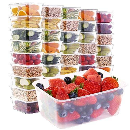 E-Gtong [50 Pack] Food Storage Containers with Lids (33 OZ), Meal Prep Plastic Containers, BPA Free Food Containers Leakproof & Stackable Bento Boxes - Microwaveable, Freezer and Dishwasher Safe