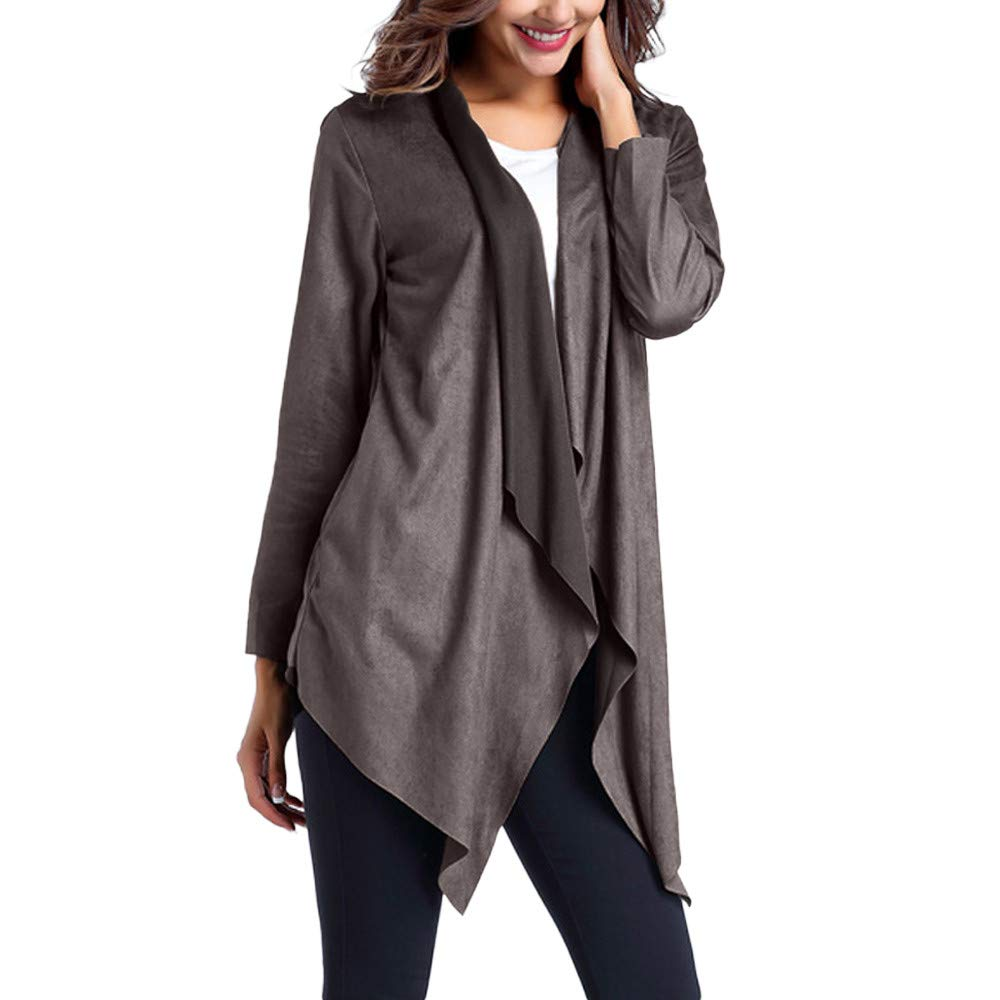 BETTERUU Women Faux Leather Windbreaker Jacket Asymmetrical Thin Outerwear Cardigan BEUU
