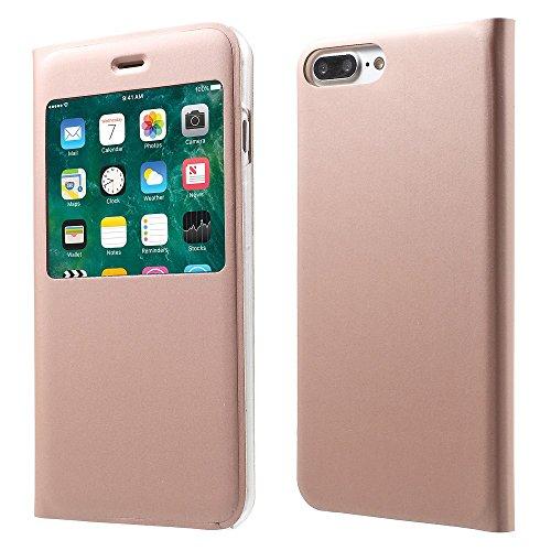 View Window Flip Leather Tasche Hüllen Schutzhülle - Cover Case für iPhone 7 Plus - Rose Gold