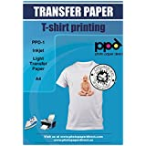 """PPD Inkjet Iron-On Light T Shirt Transfers Paper LTR 8.5x11"""" Pack of 20 Sheets (PPD001-20)"""