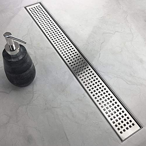 - WINSOON 60 Inch Shower Linear Drain,Square Pattern Grate, Brushed 304 Stainless Steel Shower Floor Drain, Adjustable Leveling Feet,Hair Strainer (60 IN)