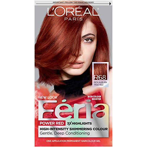 Red Hair Colour - L'Oréal Paris Feria Permanent Hair Color, R68 Ruby Rush (Rich Auburn True Red)