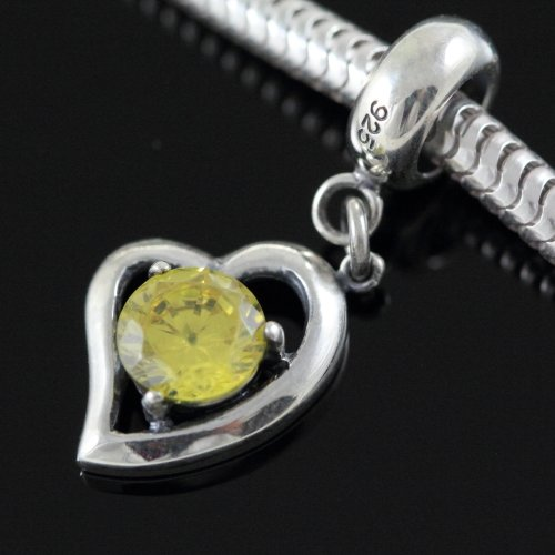 .925 Sterling Silver Heart November Birthstone Topaz CZ Dangle Pendant Fits Pandora, Biagi, Troll, Chamilla and Many Other European Charm #EC335