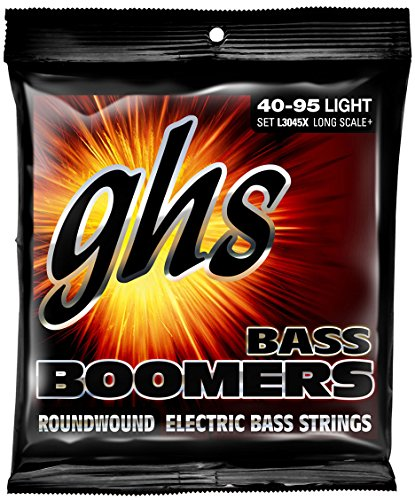 Gauge Strings Light Bass - GHS Strings L3045 4-String Bass Boomers, Nickel-Plated Electric Bass Strings, Long Scale, Light (.040-.095)