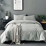 SORMAG 3pc Microfiber Queen Duvet Cover Set with Zipper Closure, Gray Deal (Small Image)