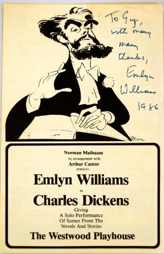 Signed Dickens - Emlyn Williams Autograph - Signed Program for Emlyn Williams as Charles Dickens - Signed in Blue - Inscribed - Films: Jamaica Inn / Another Man's Poison / Ivanhoe - Welsh Playwright & Actor- Rare - Collectible