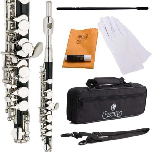 Cecilio PO-280N Key of C Resin Piccolo with Nickel Plated Keys - Black by Cecilio