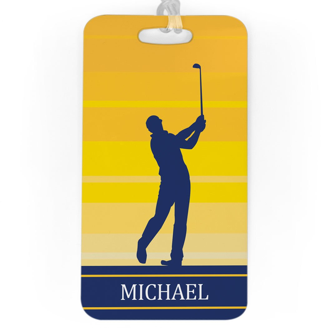 Golf Luggage & Bag Tag | Personalized Male Golfer | Standard Lines on Back | LARGE | YELLOW