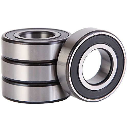 XiKe 4 Pack 6205-2RS Precision Bearings 25x52x15mm, Rotate Quiet High Speed and Durable, Double Seal and Pre-Lubricated, Deep Groove Ball Bearings.
