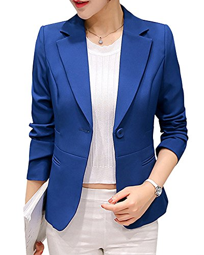 Femmes Grande Taille Blazer Veste Slim Fit Business Revers Long Manches Manteau Saphir Bleu