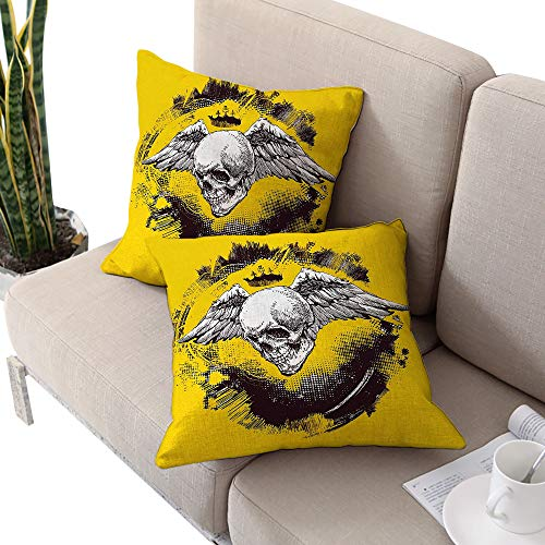 (Alexandear Tattoo Square Body Pillowcase,The Death Angel Crowned Skull Drawing with Wide Magnificent Feather Wings Yellow Back and White W14 xL14 2pcs Cushion Cases Pillowcases for Sofa Bedroom Car)