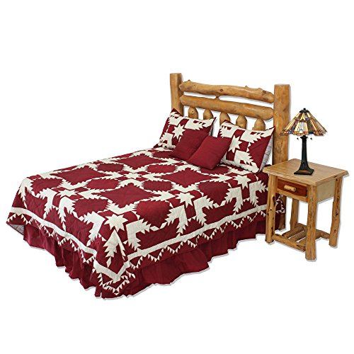 Patch Magic Super King Red Feathered Star Quilt, 110-Inch by 96-Inch