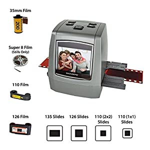 Magnasonic All-in-One High Resolution 22MP Film Scanner, Converts 35mm/126KPK/110/Super 8 Films, Slides, Negatives into Digital Photos, Vibrant 2.4″ LCD Screen, Impressive 128MB Built-in Memory