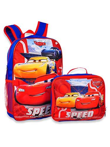 "Group Ruz Cars Jackson & Lightning McQueen 16"" Backpack W/ Detachable Lunch Box"