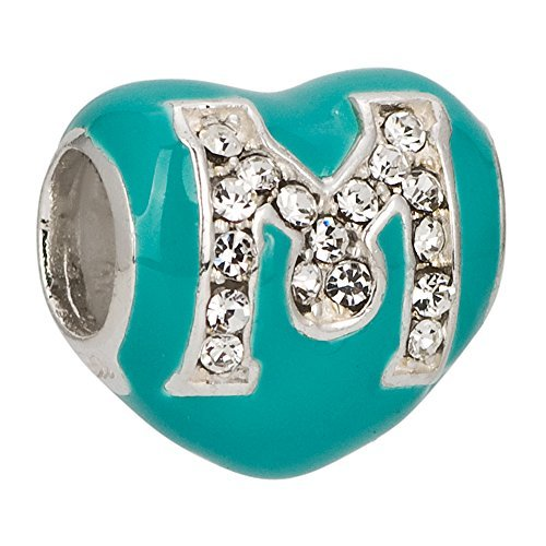 "925 Sterling Silver Letter""M"" Bead Enamel Blue Heart Crystals European Style Fashion Jewelry Fits Pandora Charms"
